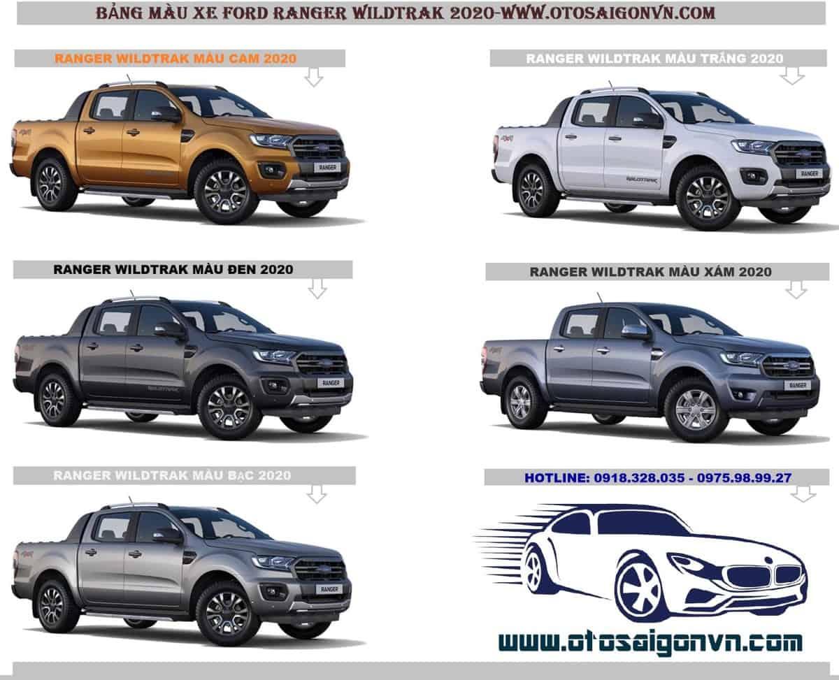 bang mau ford ranger wildtrak 2020 xam trang bac den cam