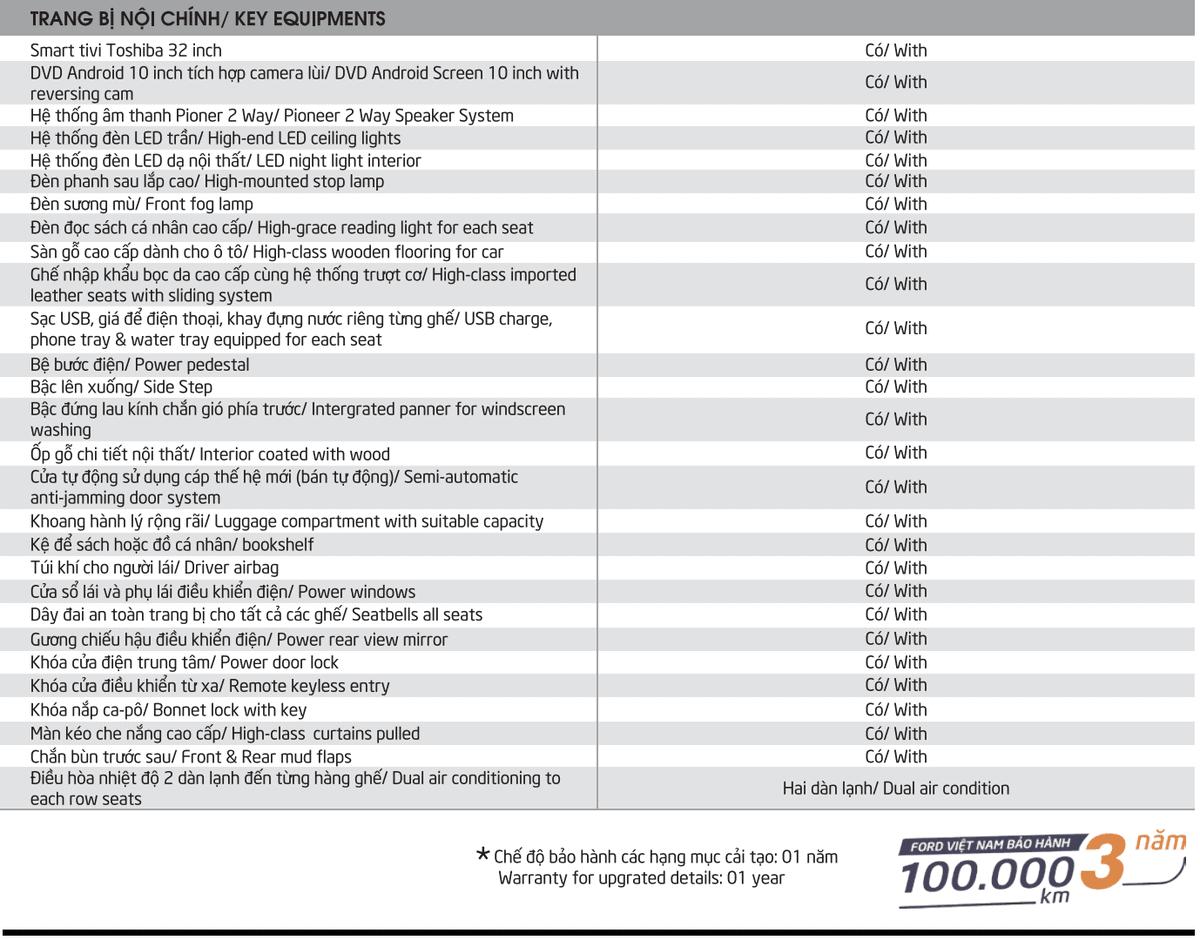 Xe Ford Transit 10 chỗ City Limousine cao cấp kèm giá bán hấp dẫn 42