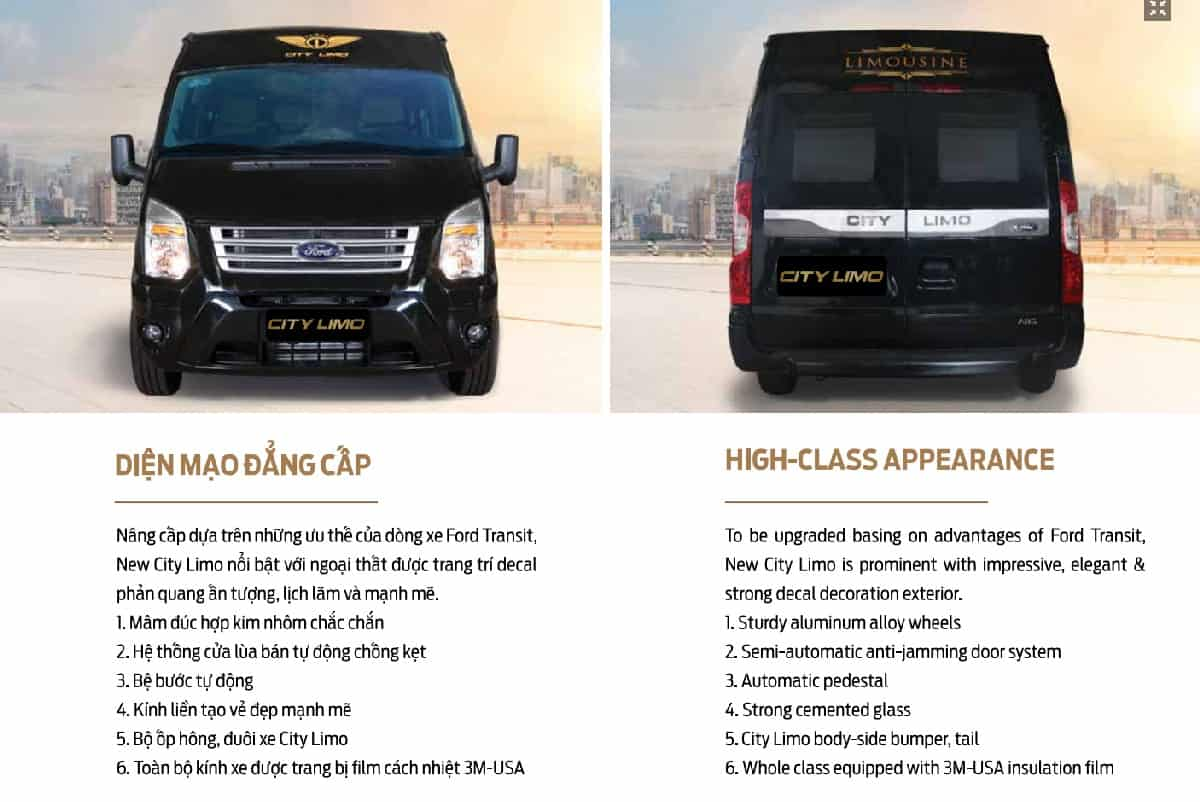 Xe Ford Transit 10 chỗ City Limousine cao cấp kèm giá bán hấp dẫn 26