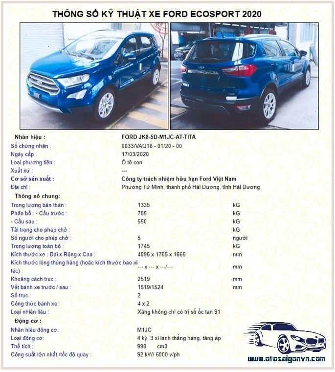 Xe Ford Ecosport 5 chỗ 2021 giá tốt nhất 23