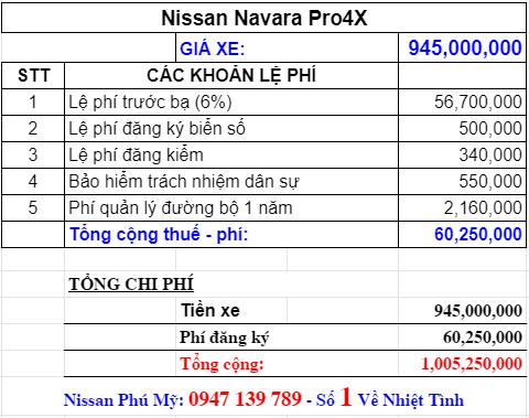 Giá lăn bánh Nissan Navara 2021 phiên bản Pro4X