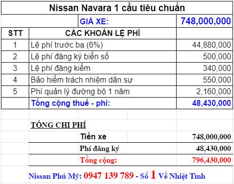 Giá lăn bánh nissan navara 2021 phiên bản 1 cầu tiêu chuẩn